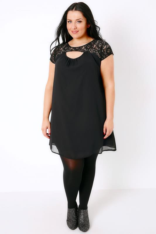 Black Swing Dress With Cut Out & Lace Yoke