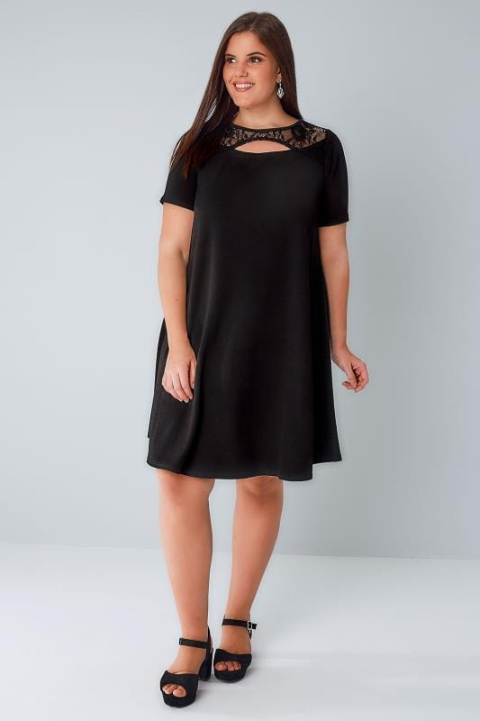Black Swing Dress With Cut Out Neckline Amp Lace Panel Plus