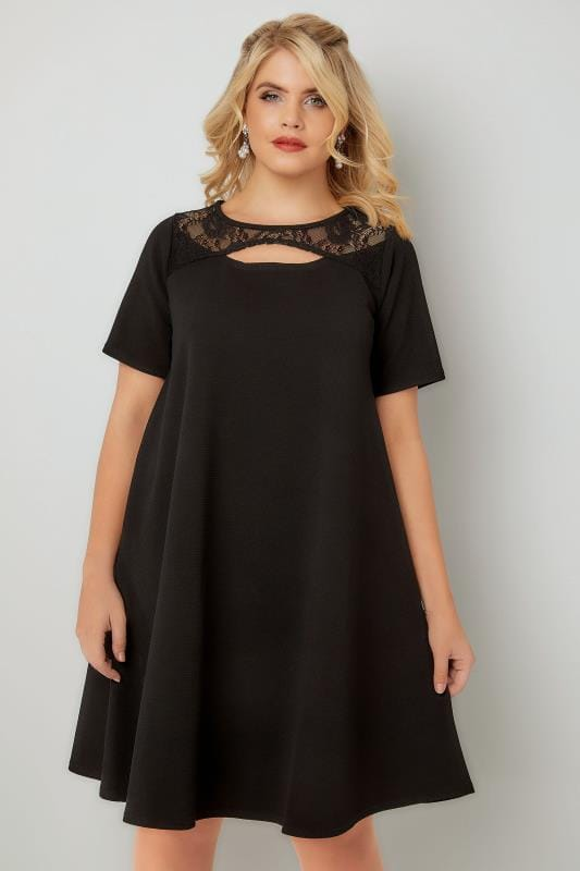 Black Swing Dress With Cut Out Neckline & Lace Panel