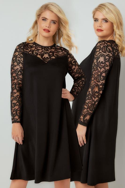 Black Swing Dress With Lace Yoke & Sleeves