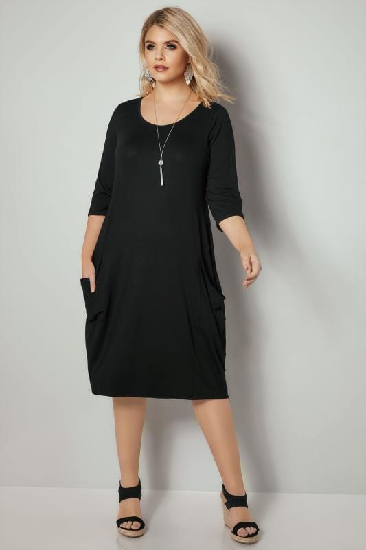Black Drape Pocket Jersey Dress With 3/4 Sleeves