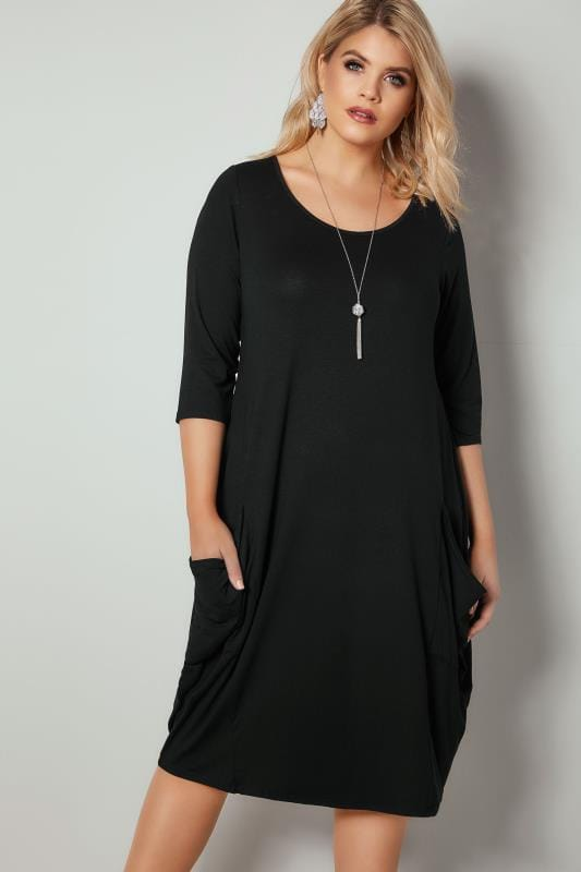 Plus Size Swing Dresses Black Drape Pocket Jersey Dress With 3/4 Sleeves