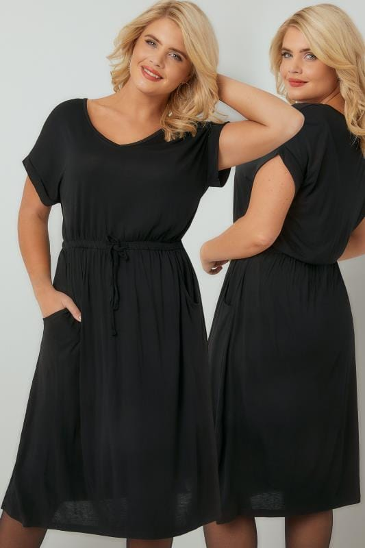 Midi Dresses Black T-Shirt Dress With Pockets & Elasticated Waistband 136076