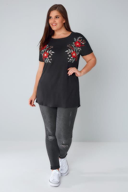 Black T-Shirt With Floral Embroidered Shoulders