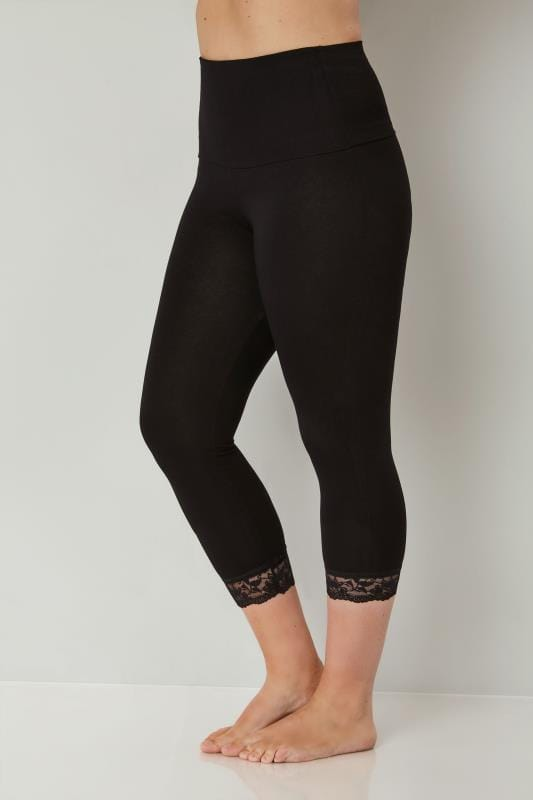 Black TUMMY CONTROL Soft Touch Cropped Leggings With Lace Trim