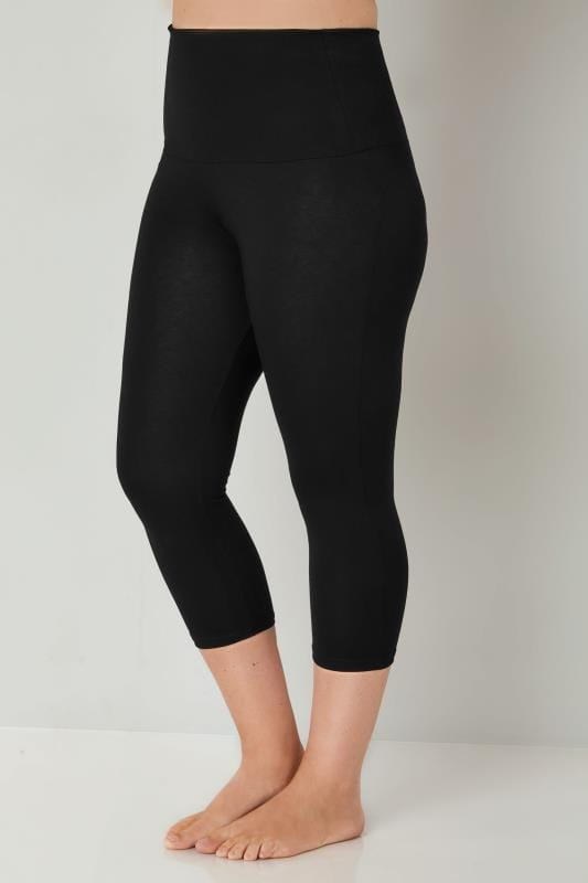 8684ff0fc878f Black TUMMY CONTROL Soft Touch Cropped Leggings Plus Size 16 to 36