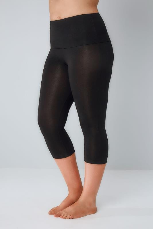 Plus Size Tummy Control Leggings Black TUMMY CONTROL Viscose Elastane Cropped Leggings