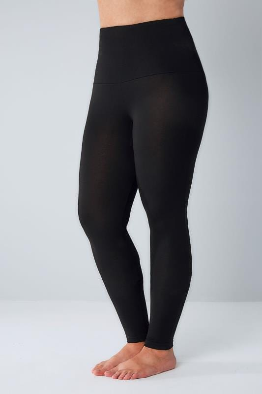 Black TUMMY CONTROL Viscose Elastane Leggings Plus Size 16 ...