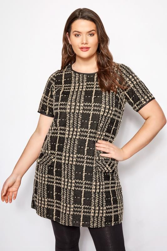 Plus Size Tunics Black & Tan Jacquard Pocket Tunic