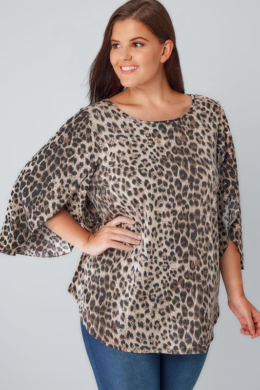 Black & Tan Leopard Print Oversize Jersey Top With Floaty Sleeves