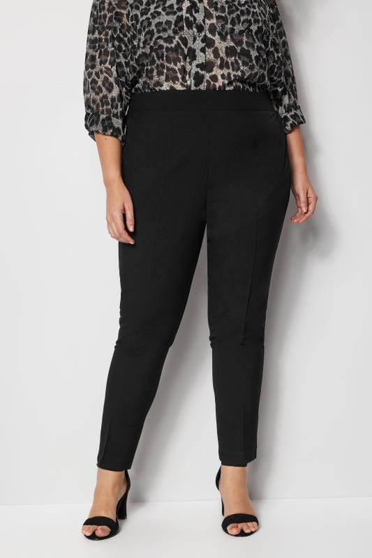 Plus Size Tapered & Slim Fit Trousers Black Tapered Trouser