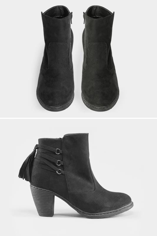 Wide Fit Boots Black Tassel Heeled Ankle Boots In EEE Fit