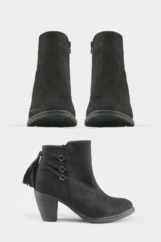 Black Tassel Heeled Ankle Boots In EEE Fit