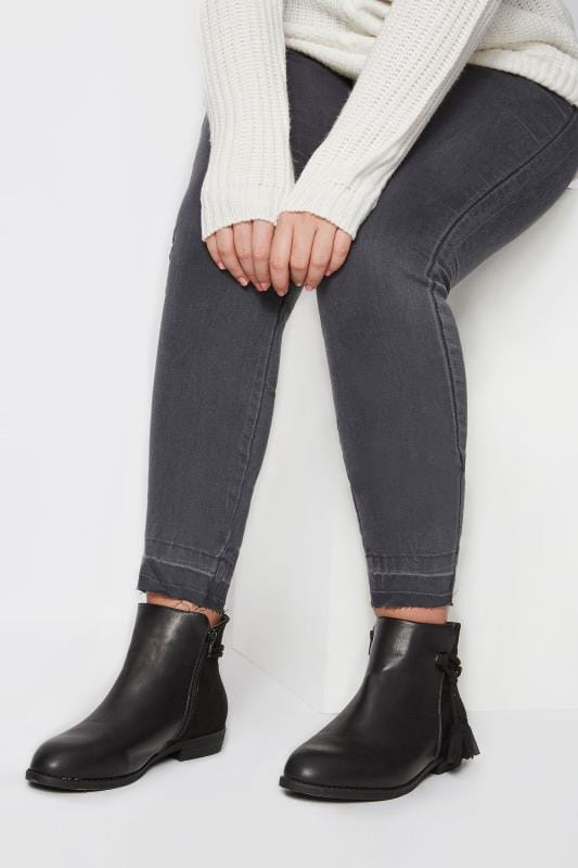 Plus Size Ankle Boots Black Tasselled Ankle Boots In EEE Fit