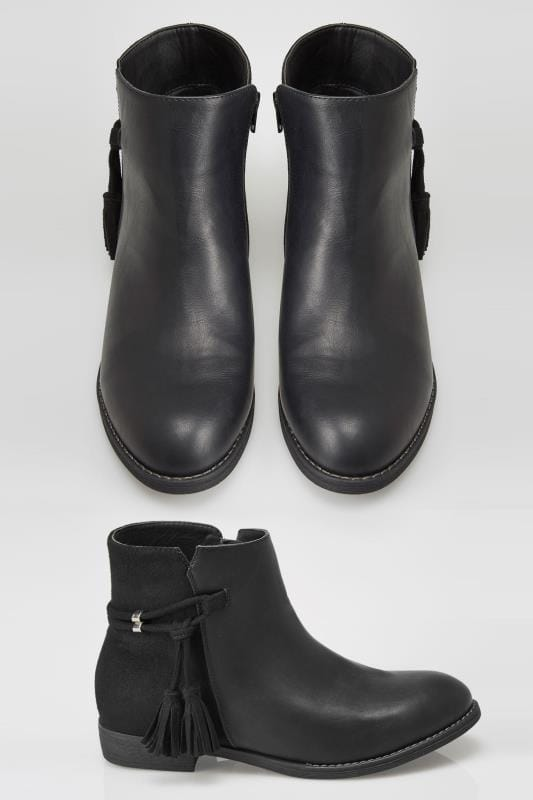 Wide Fit Ankle Boots Black Tasselled Ankle Boots In EEE Fit