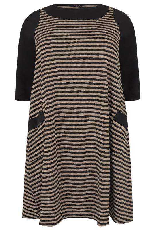 Tunic Dresses Black & Taupe Striped Tunic Dress With Pockets 170371