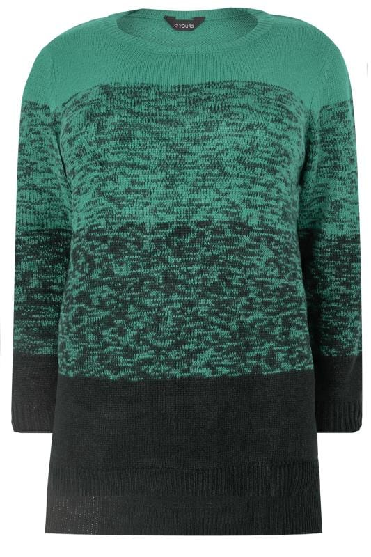 Black & Teal Colour Block Longline Jumper