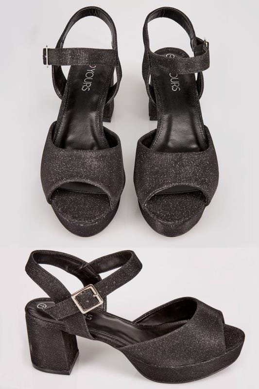 Wide Fit Heels Black Textured Block Heel Sandals With Glitter Finish In TRUE EEE Fit