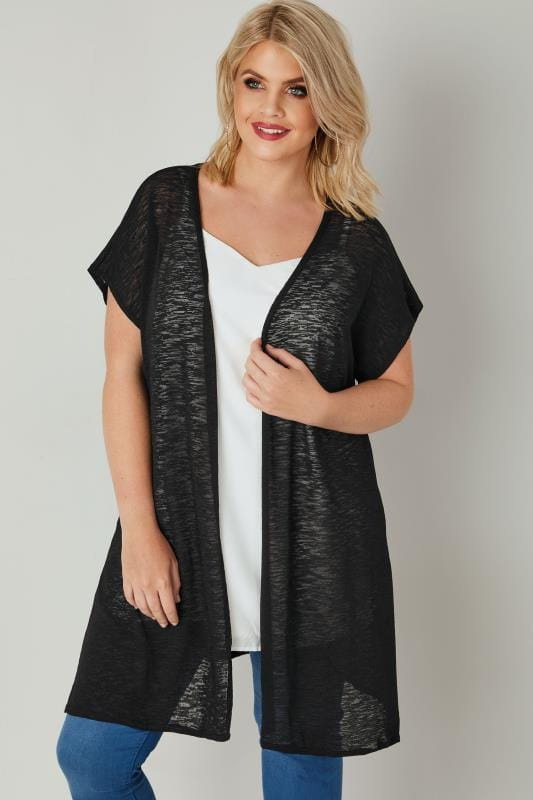 Grote maten Grote maten Vesten Black Textured Cardigan With Grown-On Short Sleeves