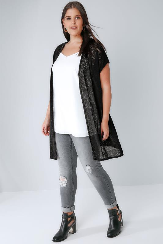 Black Textured Cardigan With Grown-On Short Sleeves, Plus Size 16 To 36-7549