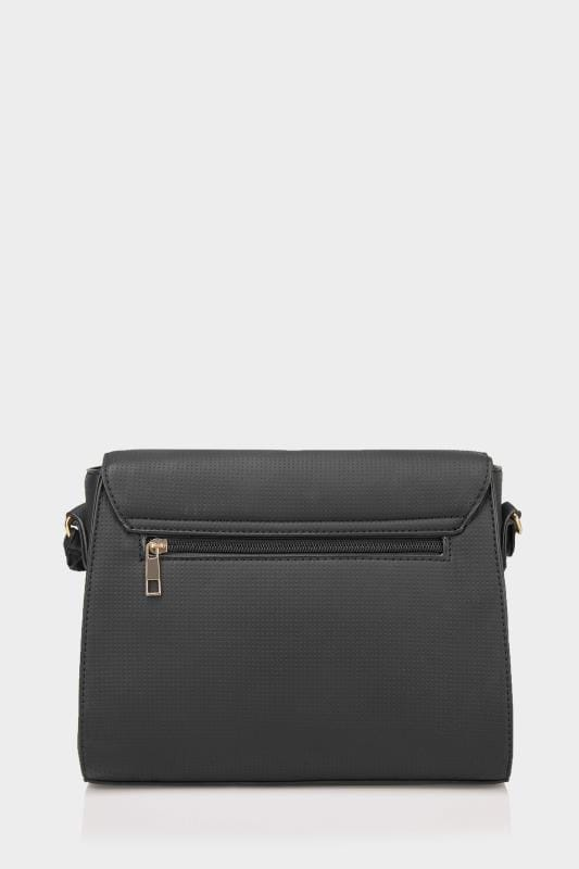 Black Textured Cross Body Bag With Ring Detail