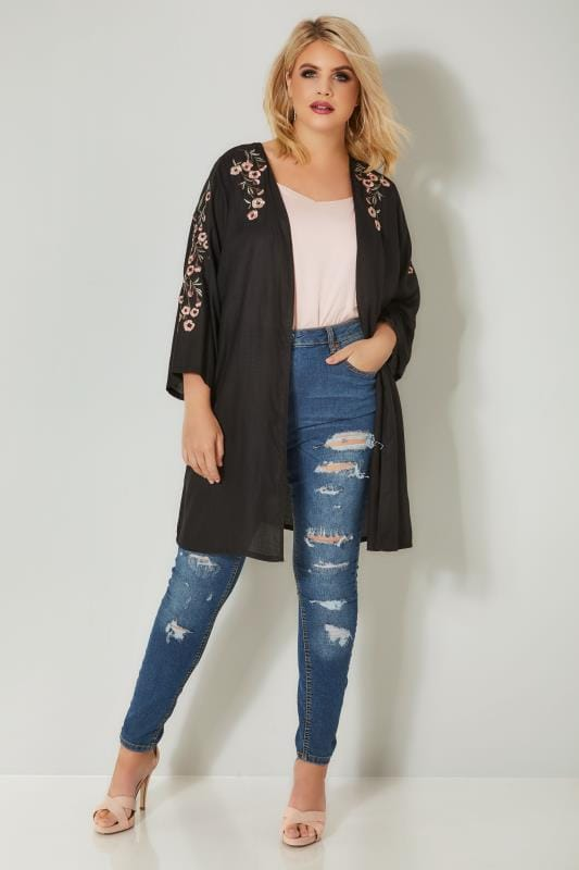 Black Textured Floral Embroidered Kimono
