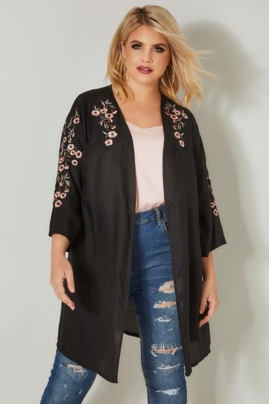 Plus Size Cover Ups Black Textured Floral Embroidered Kimono