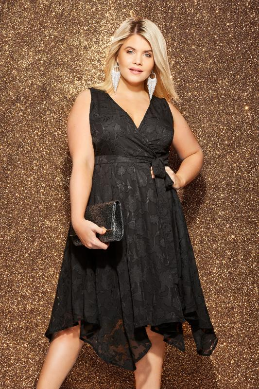 Plus Size Black Dresses Black Textured Floral Hanky Hem Dress