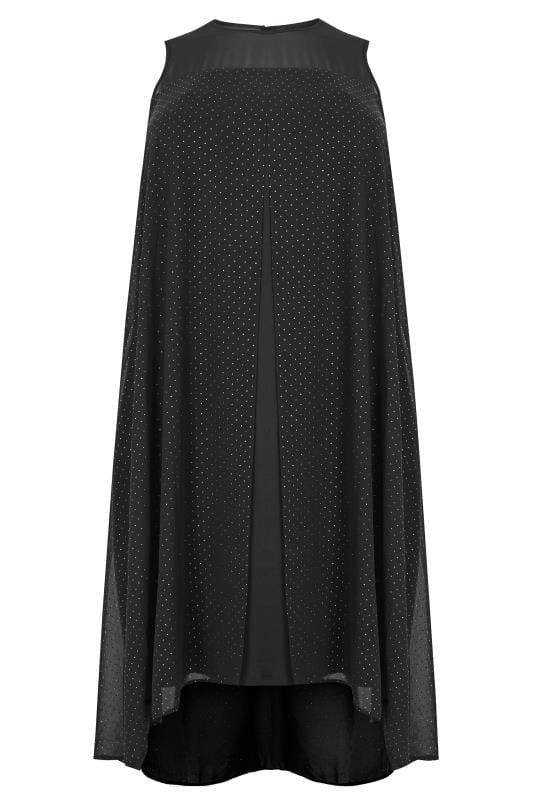 Plus Size Black Dresses Black Textured Glitter Layered Dress