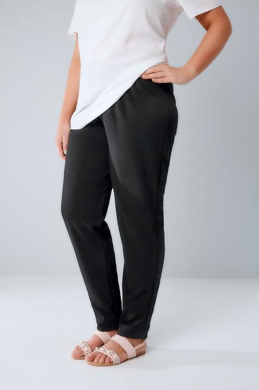 Black Textured Jersey Trousers With Elasticated Waist