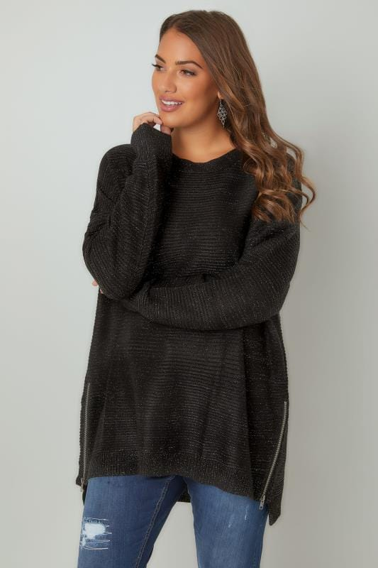 Black Textured Jumper With Metallic Thread