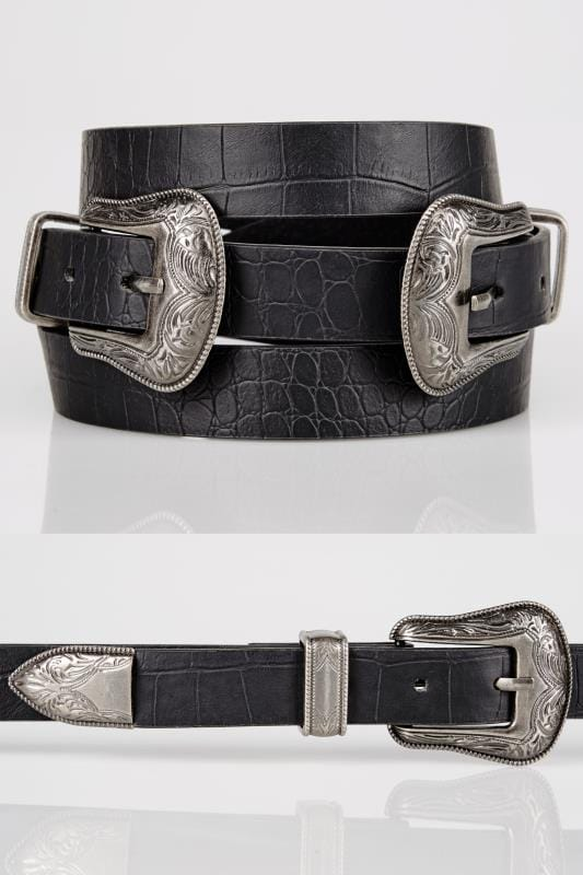 Plus Size Belts Black Textured PU Belt With Double Western Style Buckles