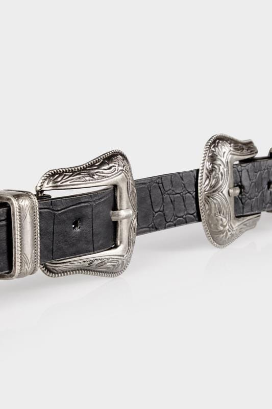 Black Textured PU Belt With Double Western Style Buckles