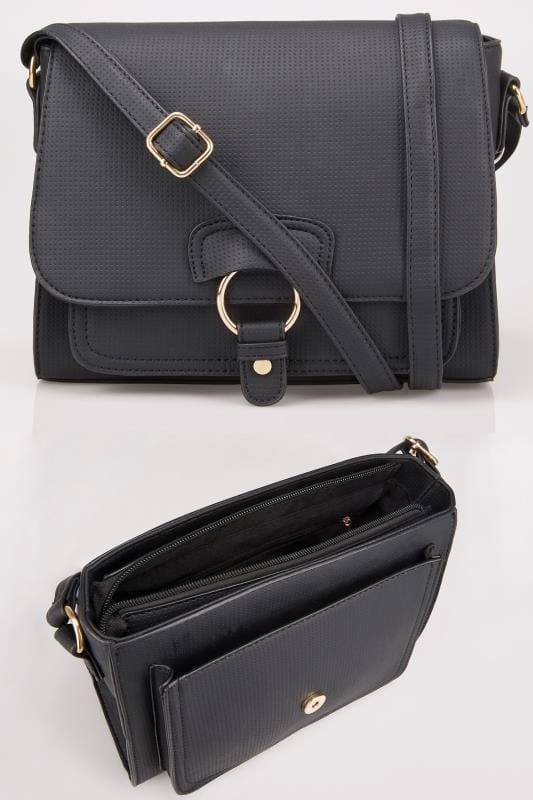 Plus Size Bags & Purses Black Textured Cross Body Bag With Ring Detail