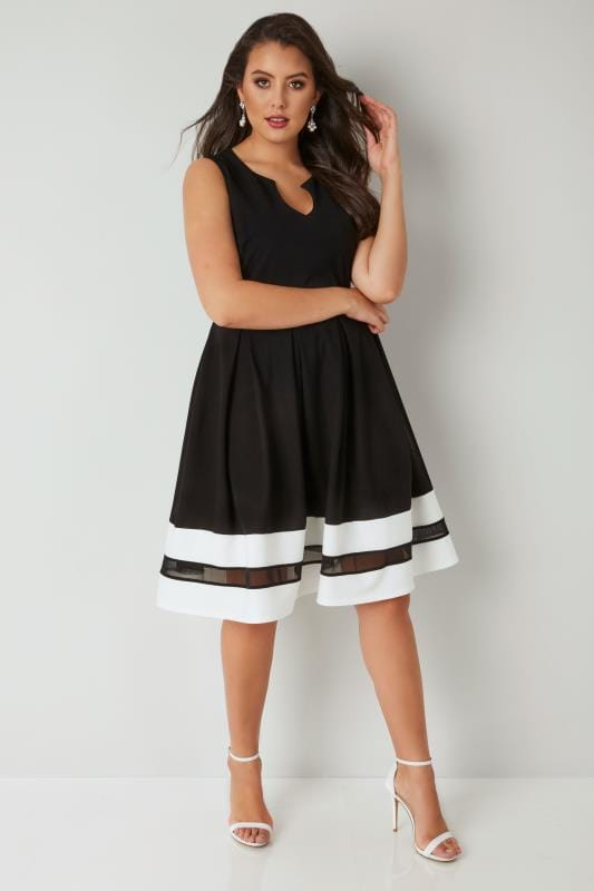 Black Textured Skater Dress With Contrasting Mesh Hem