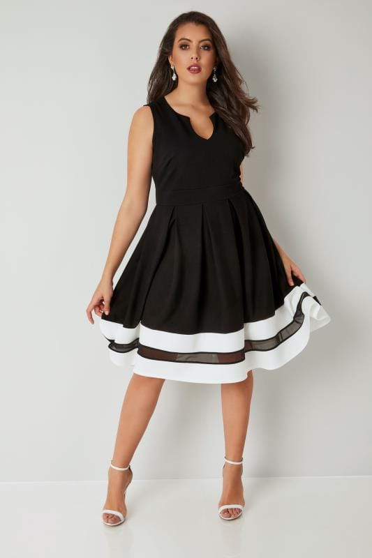 Plus Size Skater Dresses Black Textured Skater Dress With Contrasting Mesh Hem