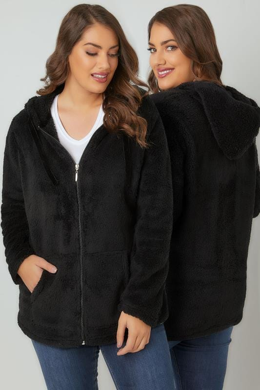 Fleece Black Textured Zip Through Hooded Fleece 126044