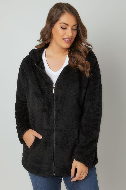 Black Textured Zip Through Hooded Fleece