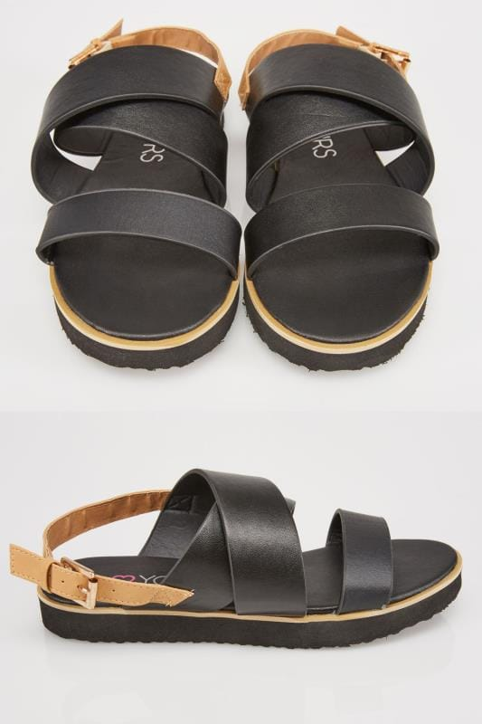 Black Three Strap Flat Sandals With Contrast Back Strap In EEE Fit