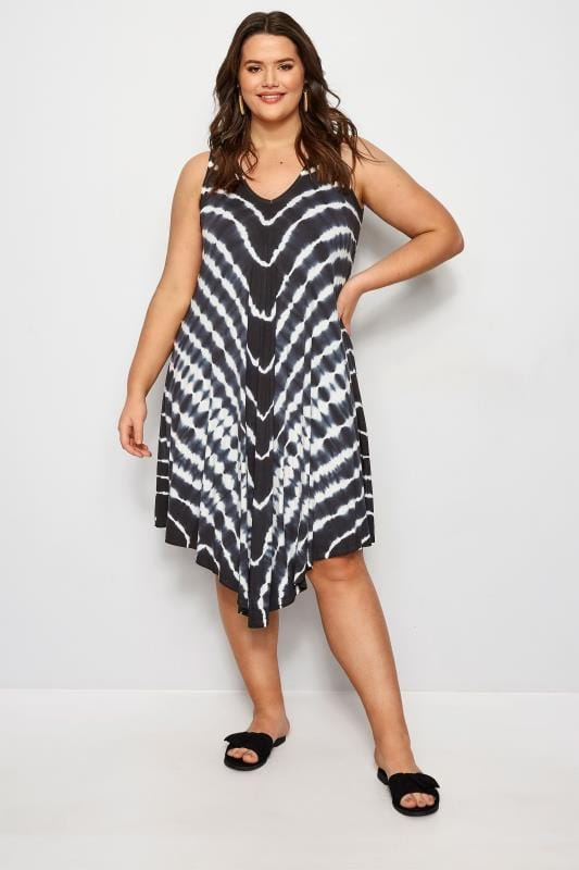 Black Tie Dye Swing Dress