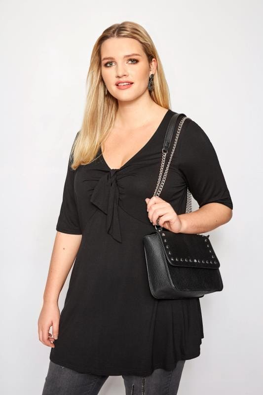 Plus Size Jersey Tops Black Tie Knot Top