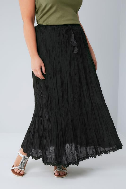 Black Tiered Crinkle Maxi Skirt