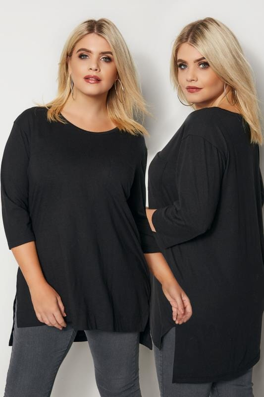 Plus Size Basic T-Shirts & Vests Black Top With Chest Pocket