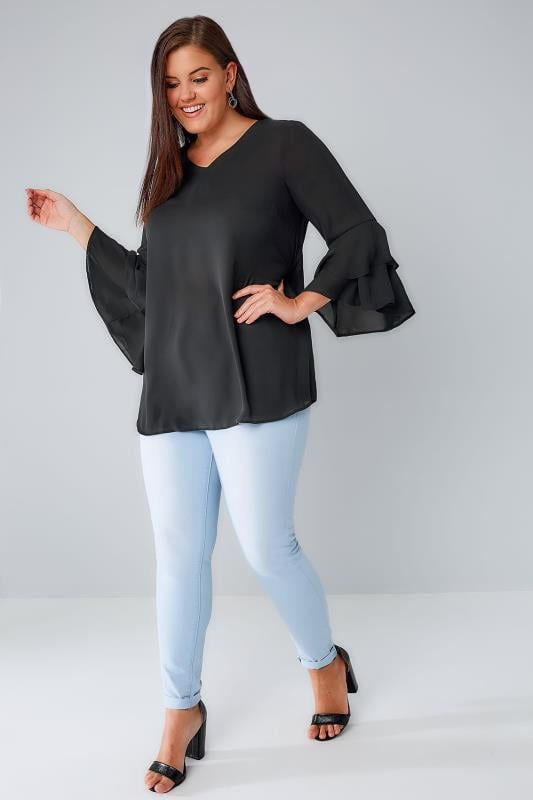 Black Top With Double Frill Sleeves