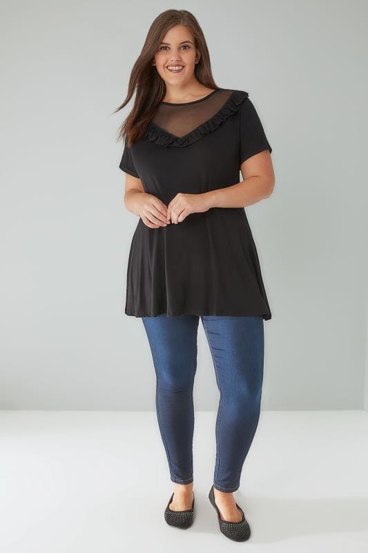 Black Top With Mesh Frill Yoke