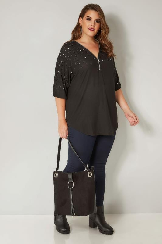 Black Zip Top With Stud Details