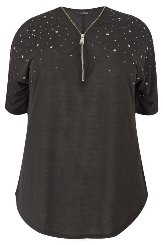 Plus Size Day Tops Black Top With Zip Neckline & Studded Detail
