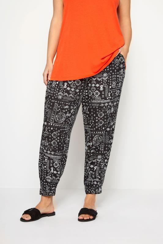 Plus Size Harem Trousers Black Tribal Harem Trousers