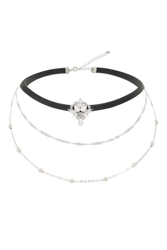Black Triple Layered Choker Necklace With Diamante Placement