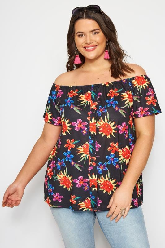 Plus Size Day Tops Black Tropical Bardot Top